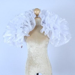Organza Boa Shrug White