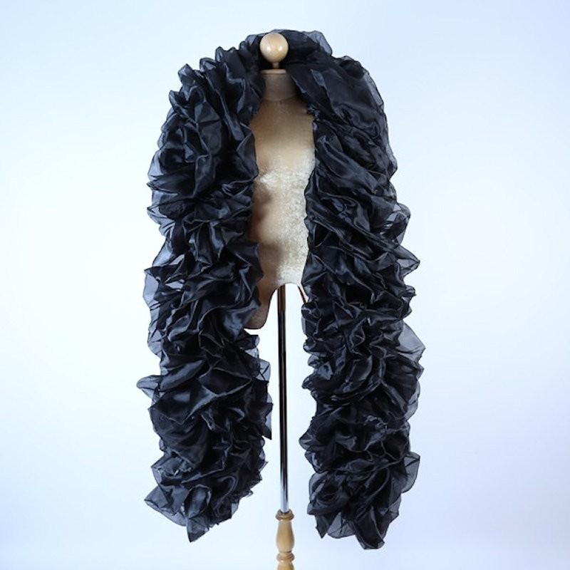Black Fluffy Crystal Organza Boa 250cm
