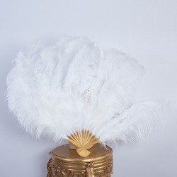Bamboo Ostrich Feather Fan White