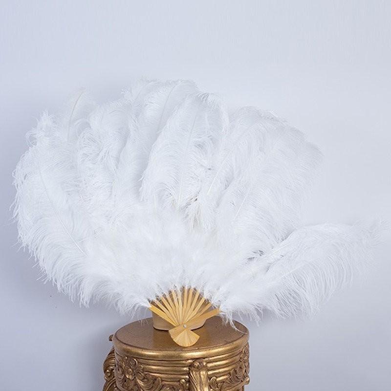 Ostrich Feather Fan White