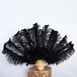 Bamboo Ostrich Feather Fan Black