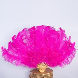 Hot Pink Bamboo Ostrich Feather Fan