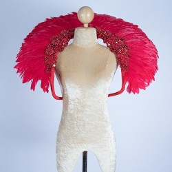 Duck Feather Collar Red