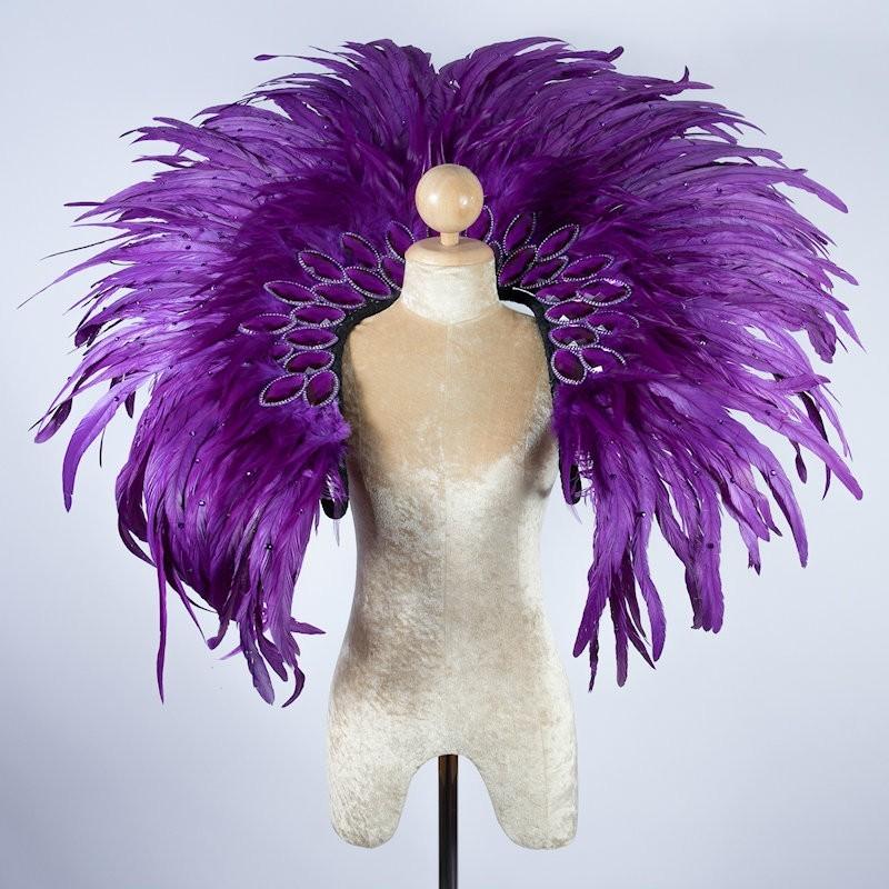Deluxe Feather Diamond Collar Purple