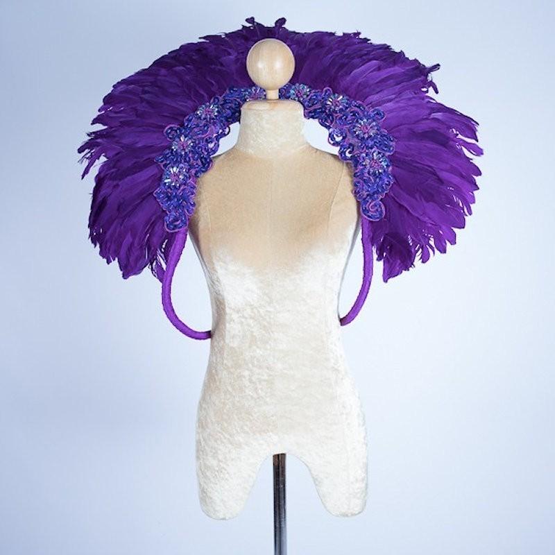 Duck Feather Collar Dark Purple