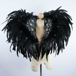 Deluxe Feather Collar Black with AB Crystal Stones