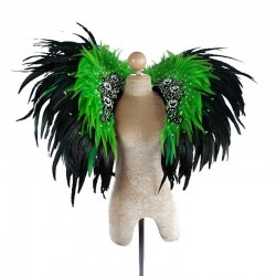 Deluxe Feather Collar Black Light Green Sequinn