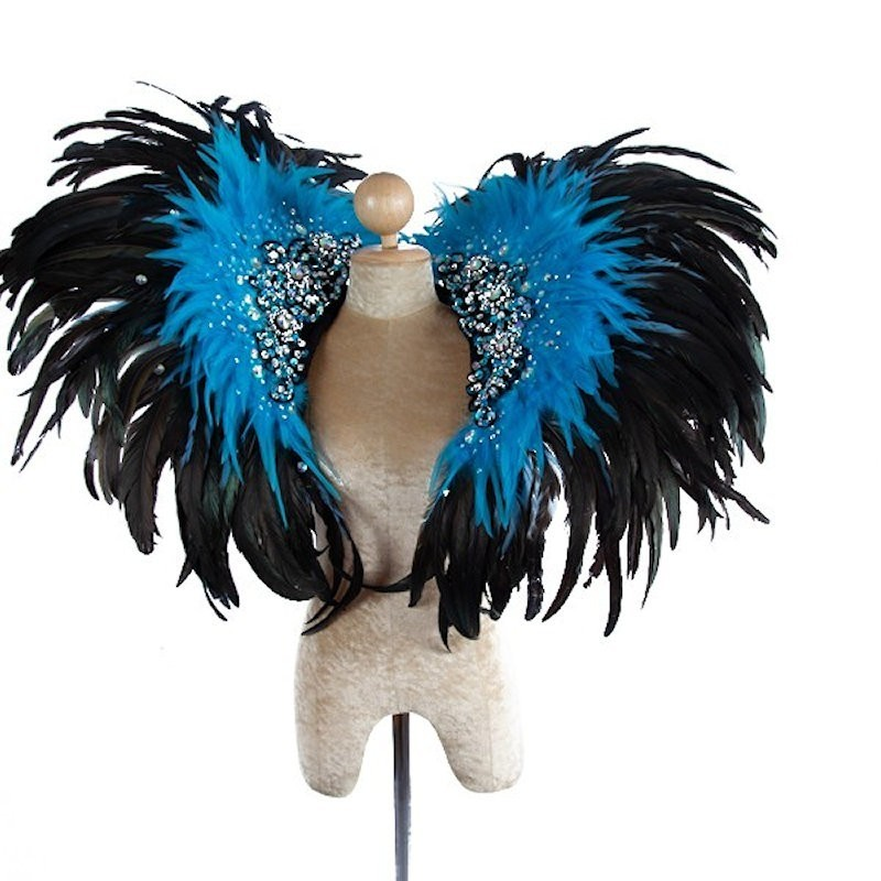 Deluxe Feather Collar Black Light Blue Sequin