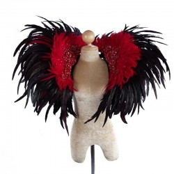 Deluxe Feather Collar Black Red Sequin
