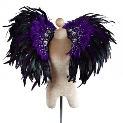 Deluxe Feather Collar Black Purple with AB Stones