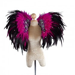 Deluxe Feather Collar Black Pink Sequin