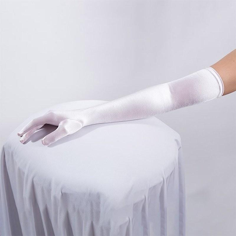 Long Satin Glove White