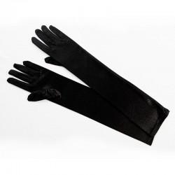 Black Elbow Length Satin Glove