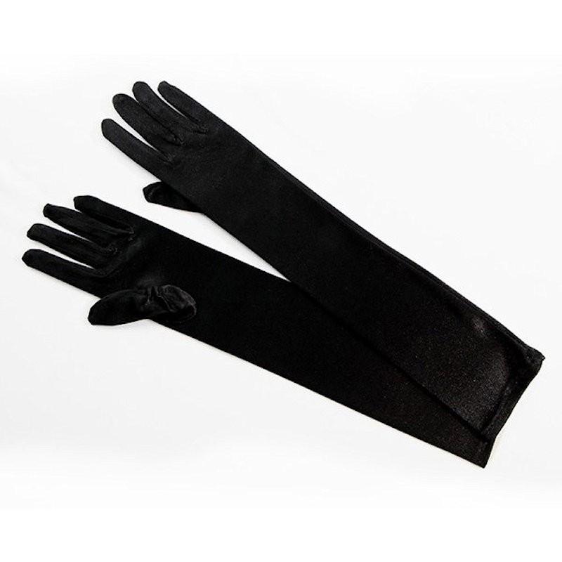 Elbow Length Satin Glove Black