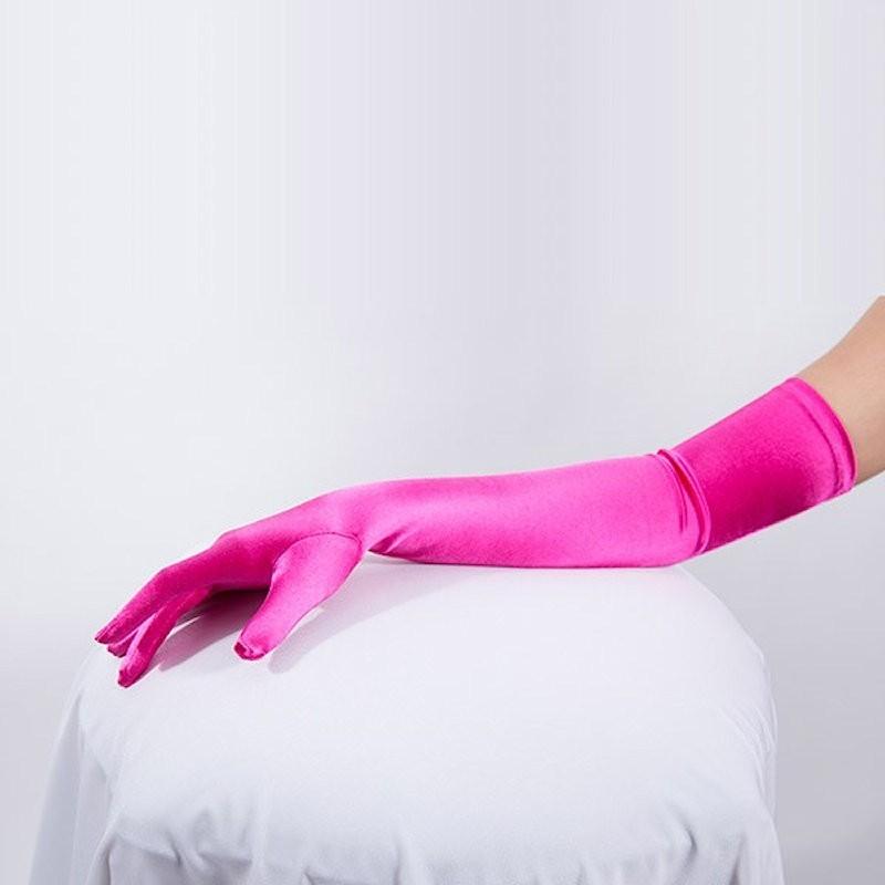 Long Satin Glove Hot Pink