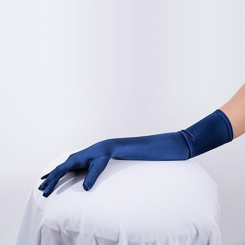 Long Satin Glove Dark Blue