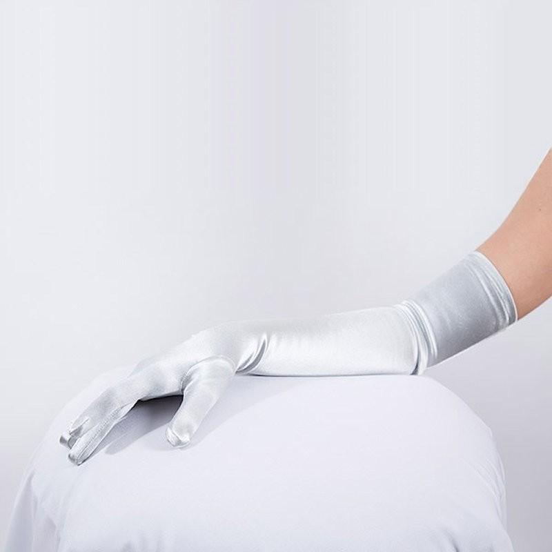 Shoulder Length Long Satin Glove Ivory