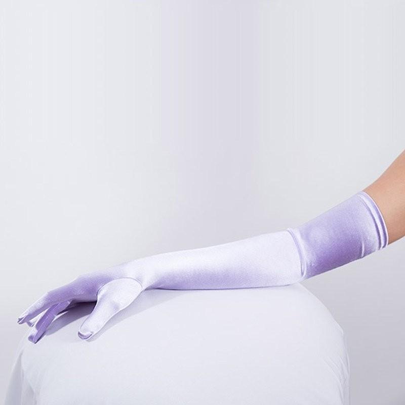 Long Satin Glove Light Purple