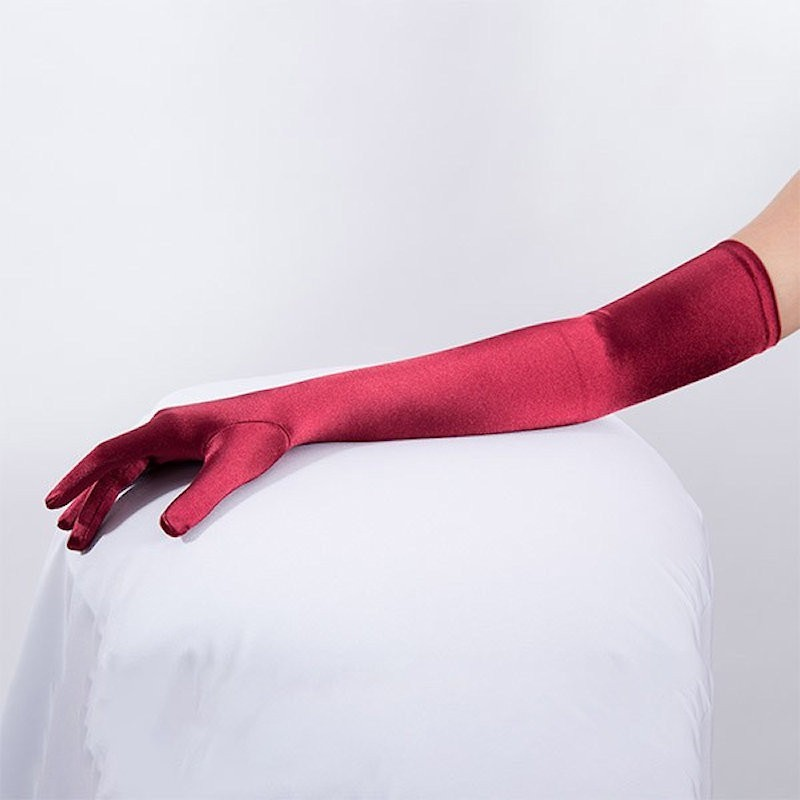 Long Satin Glove Royal Red