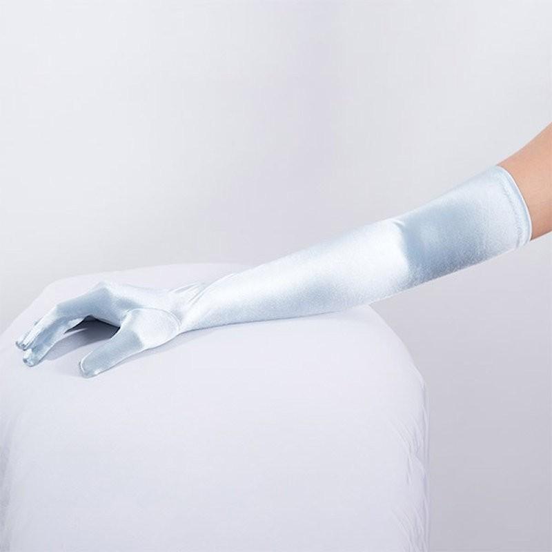 Long Satin Glove Light Blue