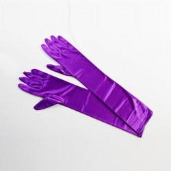 Purple Elbow Length Satin Glove