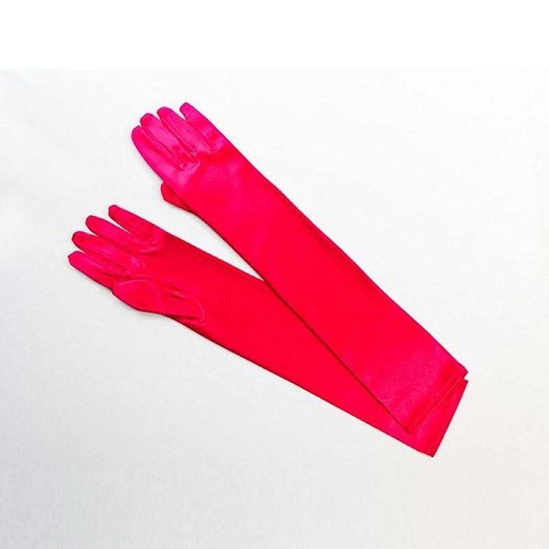Elbow Length Satin Glove Hot Pink