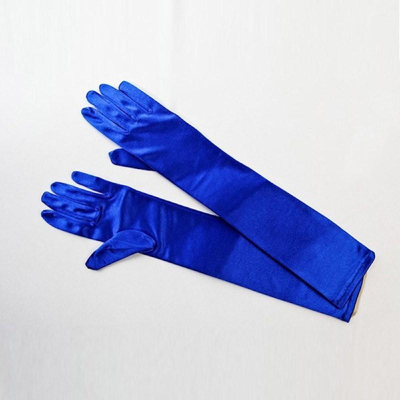 Elbow Length Satin Glove Royal Blue
