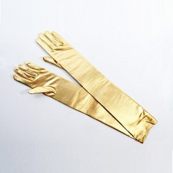 Metallic Gold Long Satin Glove