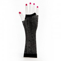 Black Elbow Length Fishnet Fingerless Glove
