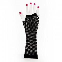 Elbow Length Fishnet Fingerless Glove Black