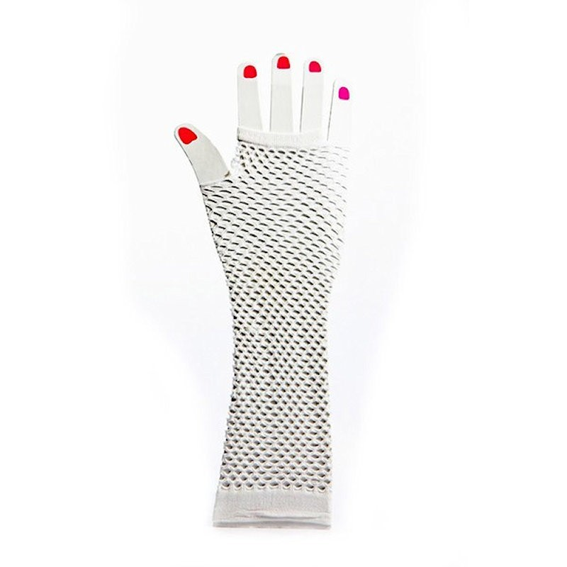 Elbow Length Fishnet Fingerless Glove White