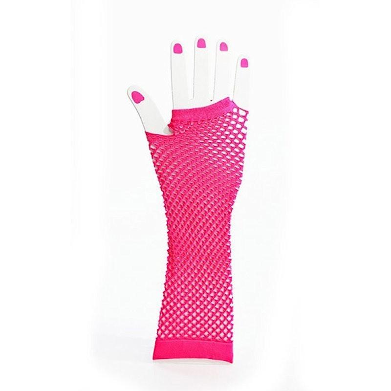 Elbow Length Fishnet Fingerless Glove Hot Pink
