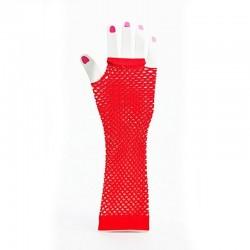 Elbow Length Fishnet Fingerless Glove Red