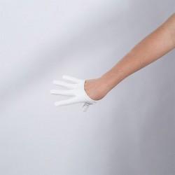White Vinyl Cropped Hand Finger Glove