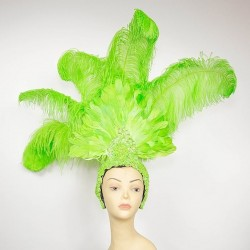 Large Showgirl Feather Headpiece Lime Green