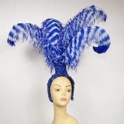 Lace Feathered Fountain Showgirl Headpiece