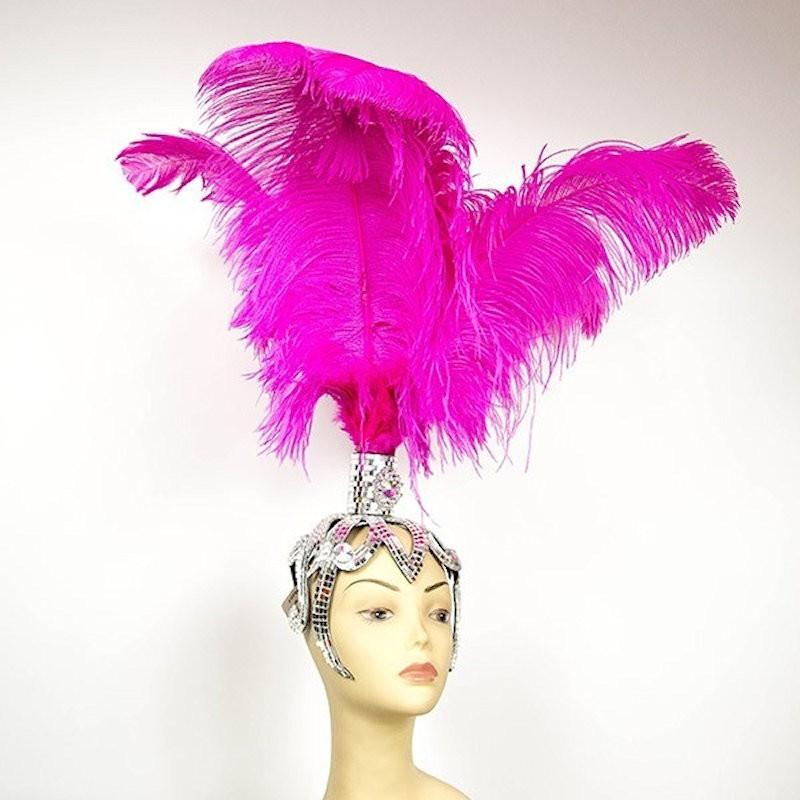 Mirror Base Feathered Fountain Showgirl Headpiece