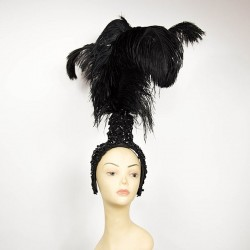 Lace Fountain Feathered Headpiece with 3 Ostrich Feathers