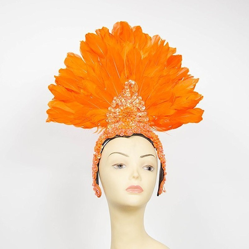 Showgirl Feathered Headpiece Orange