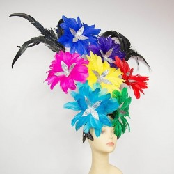 Carnival Feathered Flower Headpiece