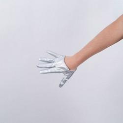 Cropped Hand Finger Vinyl Glove Silver