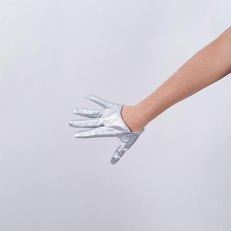 Silver Vinyl Cropped Hand Finger Glove
