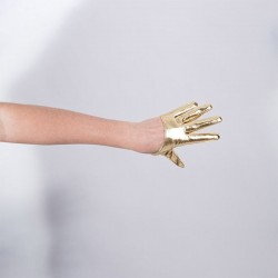 Gold Vinyl Cropped Hand Finger Glove