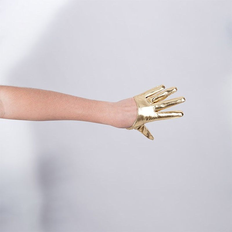 Cropped Hand Finger Vinyl Glove Gold