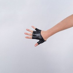 Cropped Fingerless Vinyl Glove Black