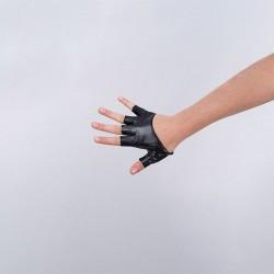 Cropped Fingerless Vinyl Glove Black