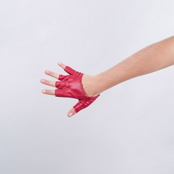 Cropped Fingerless Vinyl Glove Red