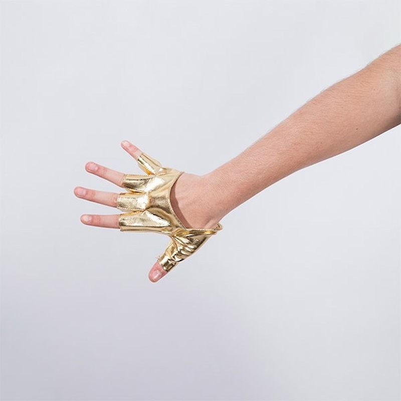Cropped Fingerless Vinyl Glove Gold