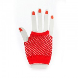 Fishnet Fingerless Wrist Glove Red