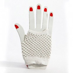 Fishnet Fingerless Wrist Glove White